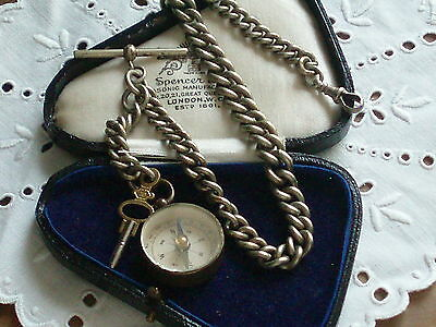 Antique Victorian Heavy Albert Watch Chain With Compass And Key Fobs