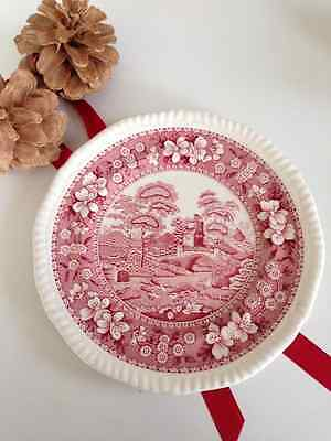 Beautiful SPODE plate, cream and red, decorative/ dessert, exc cond .