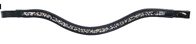 Padded Browband By HKM - With Synthetic Diamonds - Showing - Bling - U Shaped