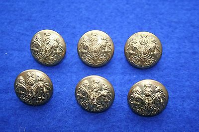 """Set Of 6 X Wwi General Service 1"""" Gilt Buttons, Kc, Buttons Limited"""