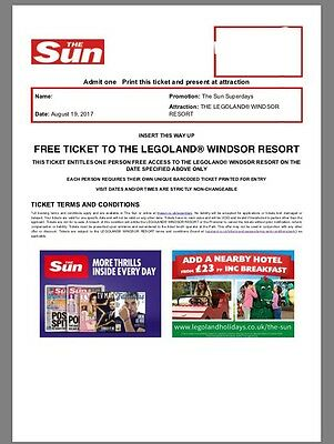 2 Legoland Tickets Worth £120.00