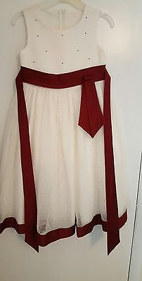 Girls Ivory Netted Bridesmaid Dress with Burgundy Trim 4-5years