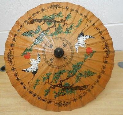 Oriental Parasol in bamboo and paper, egret motif,  58 cms diam