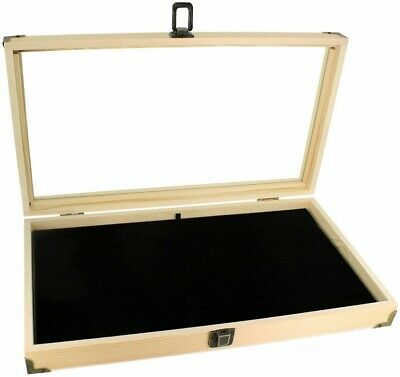 Natural Wooden Display Box Glass Top Lid Black Pad Case Jewelry Coin Medal Award