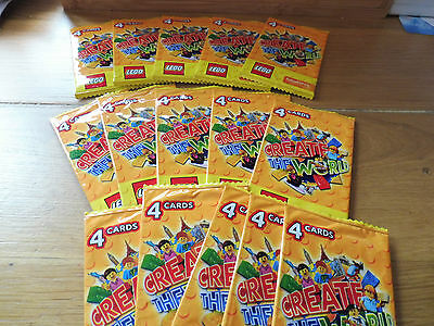 LEGO CREATE THE WORLD TRADING CARDS SAINSBURYS, 15 SEALED PACKS | See original l
