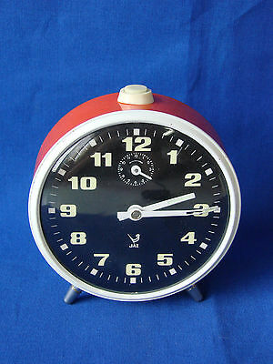 Ancien Réveil Rond Jaz Orange Seventies 60 / 70 / Horloge Pendule Old Clock