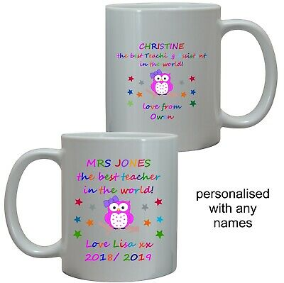 Personalised Best Teacher, Tutor Owl Mug/coaster Thank You End Of Term School