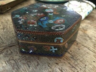 Antique japanese Cloisonné Box Very Fine Pill Trinket Snuff Excellent Hexagonal