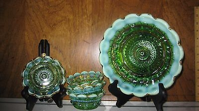 EAPG NORTHWOOD Regal Emerald Green Opalescent 5 Piece Berry Bowl Set