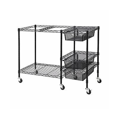 Vertiflex Mobile File Cart with 3 Drawers 38 x 15.5 x 28 Inches Black (VF50621)