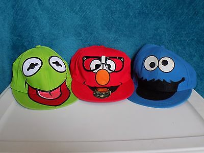 Sesame Street Flatbill Fitted Hats: Kermit, Elmo & The Cookie Monster (df65)
