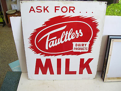 Vintage FAULTLESS Milk Dairy Single-Sided Metal Sign