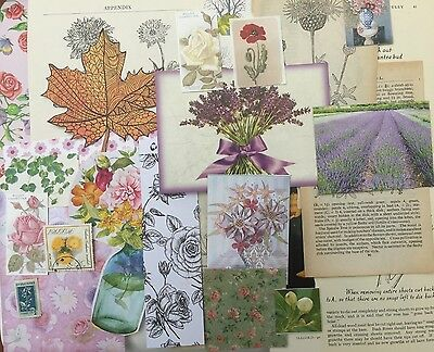 Vintage Ephemera Pack 30+ pieces. Subject - flowers, Crafts,scrapbook,decoupage