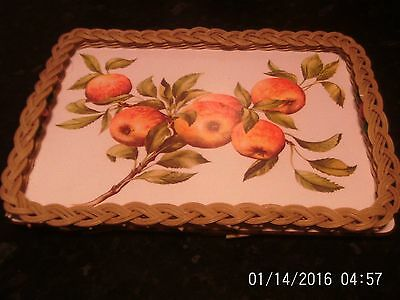 Vintage Small Retro Wicker Serving Tray With Fruit Design