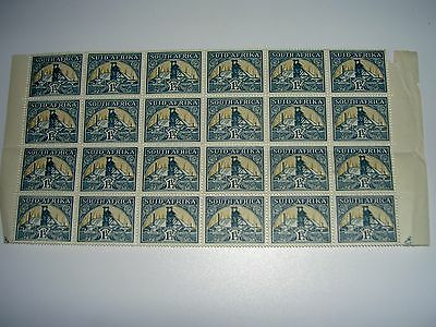 South Africa 1 1/2d Gold Mine - Block of 24 Stamps