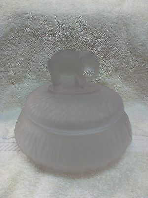 SATIN GLASS COVERED DISH WITH ELEPHANT HANDLE ON LID Candy Dish