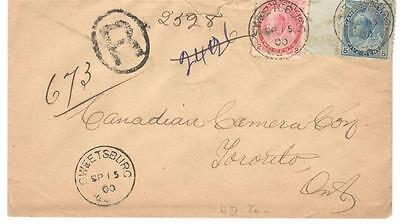 1900 Sweetsburg, Que. Registered Cover Montreal Square Circle Precursor Cancel