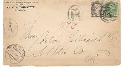 1897 Montreal, Que. Drop Letter Rate Registered Cover 2c + 5c SQ's Private CC
