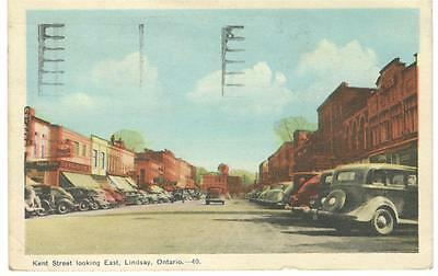 1949 PPC - View of King Street Looking East - Lindsay, Ontario