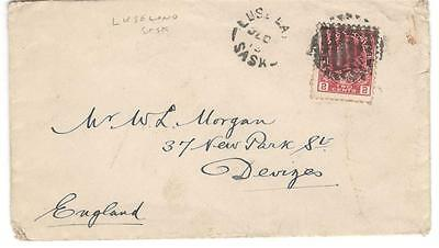 1910's Luseland, Sask. Split Ring Cancel on 2c Admiral Cover to England