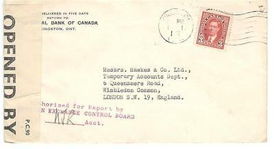 1941 Kingston, Ont. Bank Cover Censored + F.E.C.B. Hand Stamp to England