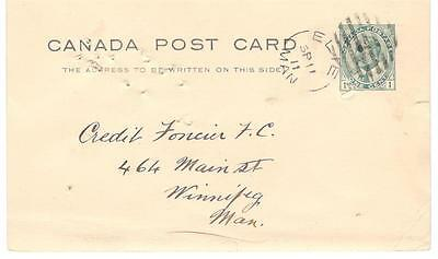 1911 Elie, Manitoba Split Ring Cancel on 1c Edward Postal Card