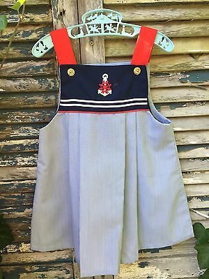 Vintage Sailor Dress Red White Navy Pleated  Shift Dress Anchor Embroidery 5T