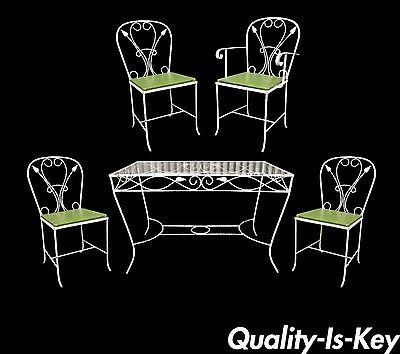 Vintage Salterini Wrought Iron Patio Dining Set Table 4 Chairs Art Nouvea White