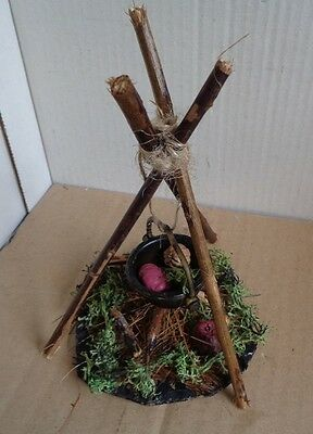 Miniature Witches Fire Cauldron Cooking Pot Stick Tripod Handmade Dolls House