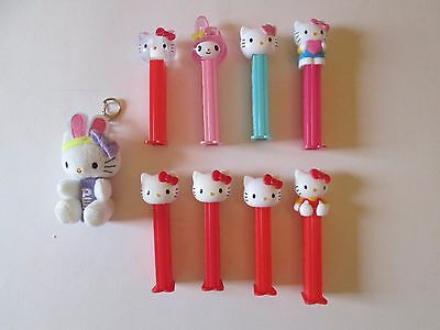 8 Pez Dispensers Hello Kitty and Plush key chain