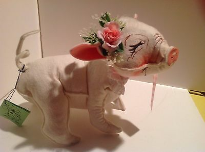 Handcrafted Soft Sculpture Pig by Anna Lee