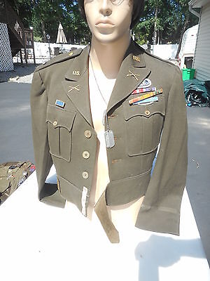 WW2 US Army Paratrooper Ike Jacket Named W/Dog Tags Sterling Paratrooper Badge