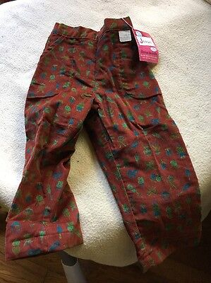 VTG Girls Flannel Lined Corduroy Pants Size 4 Toddler Adorable Design Jeanies