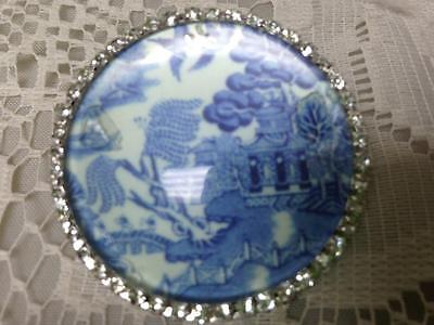 Beautiful, 45mm Blue Willow Brooch with Rhinestones