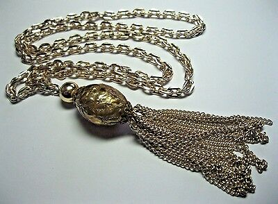 GORGEOUS VINTAGE 1960's STAYBRITE FOILED PLASTIC TASSEL DROP JEWELLERY NECKLACE