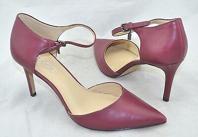 Coach 'Seline' Women's Plum Leather Ankle Strap Pointed Toe Pump Size 9 B