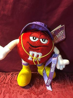 """NEW WITH TAG! 9"""" Red M&M Chocolate Candy Stuffed Plush Doll Rain Hat SHIPS NOW!"""