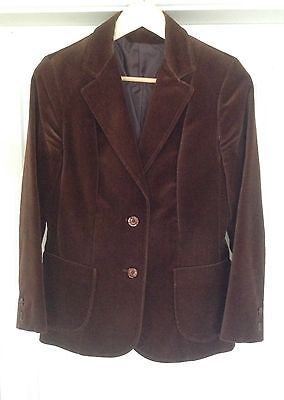 Original 1970's Vintage Ladies Marks & Spencer Velvet Jacket - Size 12 - Brown