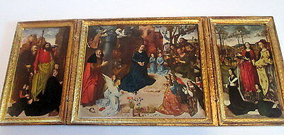 Antique Italian Florentine Large Tole Madonna Baby Jesus Angels Triptych
