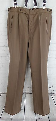 Vtg 1960s Brown CHeck Pleated Button Fly Wool Trousers W34 EB15
