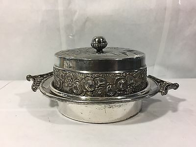 Antique Vintage Mead And Robbins Quadruple Silverplate Butter Lard Dish Bowl