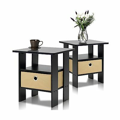 Furinno 2-11157EX End Table Bedroom Night Stand Petite Espresso Set of 2 New