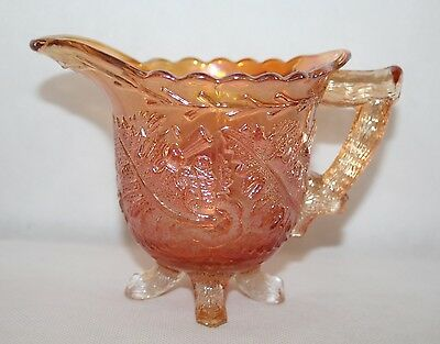"Sowerby Marigold Carnival Glass - 4"" Footed Thistle Jug - vgc"