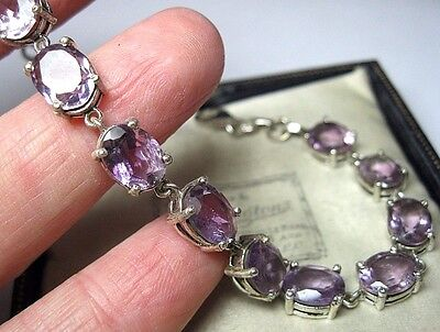GORGEOUS Vintage Style Sterling Silver Natural Faceted AMETHYST Stone Bracelet