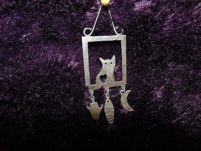 Silver Cat Retro Pin or Necklace - Sterling 925