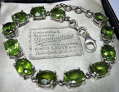 GORGEOUS Vintage Style Sterling Silver Natural Faceted PERIDOT Stone Bracelet