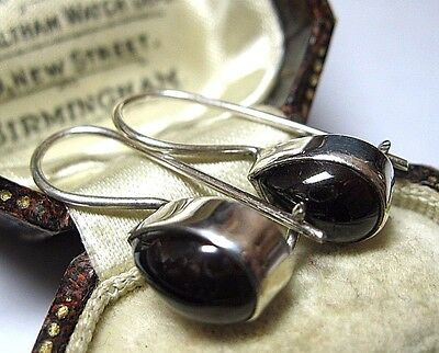 Vintage Edwardian Style Jewellery Solid Silver Bohemian GARNET Stone EARRINGS