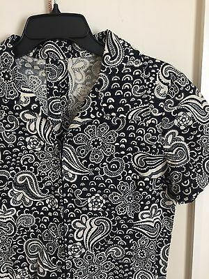 Vintage Retro Black 60s Collared Midi Shirt Dress Paisley Floral 70s Size 12