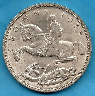 1935 George V Silver Crown Coin. 5/.  Art Deco Influence.  Lovely Condition.