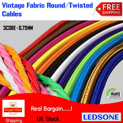 10m 3 Core Round /Twisted fabric Braided Cable Lighting Flex Vintage Industrial